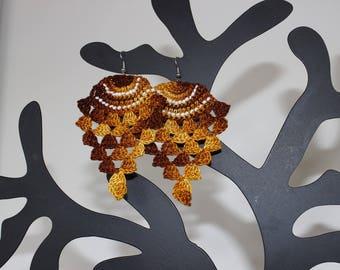 """Pineapple"" style hook earrings (Fawn gradient)"