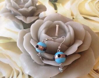 "Earrings ""blue glass beads"" heart charm"