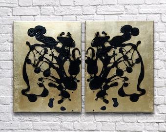 "RoR #7 Black & Gloss Black Rorschach Wall Art on Gold Leaf Twin Canvas Set (12"" x 16"" each   total 24"" x 16"")"
