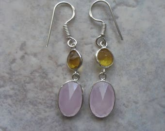 Earrings in Sterling Silver 925 chalcedony rose and lemon yellow citrine