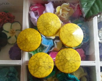 1 acrylic beads, turquoise imitation, flat round, yellow, 25 mm in diameter, 8 mm thick, hole: 2 mm