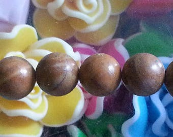 1 Pearl, wood lace stone, round, 8 mm in diameter, hole: about 1 mm