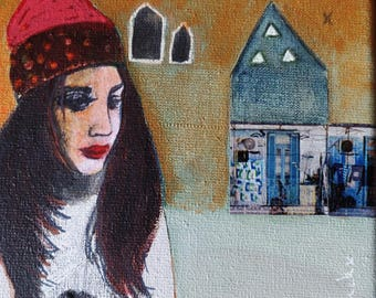 Kelly portrait woman on canvas