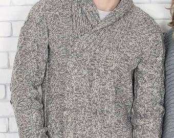 man with a shawl collar sweater / custom listing underway