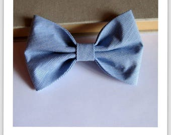 Bow tie and clip in hair 2 in 1 blue and white stripe
