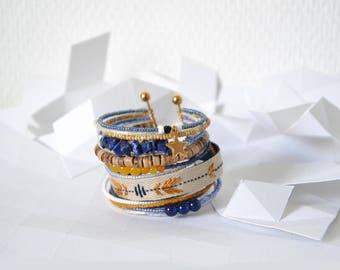 "Bracelet ""Swarm"" Navy and Tan"