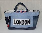 Sac Cabas en jean recyclé, LONDON,  doublé coton épais écru motifs anglais