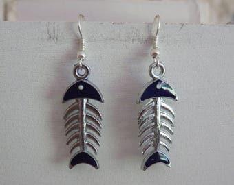 Sugar skull purple fish earrings