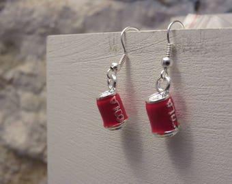 Silver earrings soda cans
