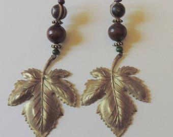 Earrings bronze leaves