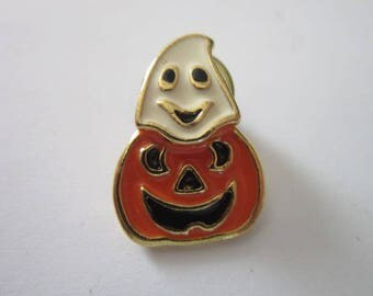 Vintage Halloween Ghost Jack o Lantern Brooch