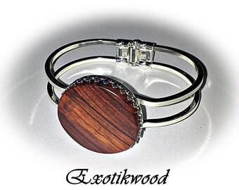 Bracelet adjustable Mozambique wood cabochon