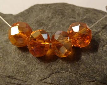 12 mm amber Crystal faceted 4 perfect beads to create orange