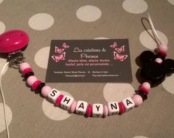 Pacifier clip personalized with name head lollipop mickey minnie mouse pink clear and black