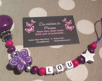 Personalized with name Purple Star Butterfly pacifier pacifier silver fuchsia purple