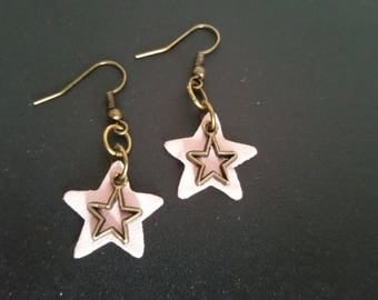 Leather star and charm earrings