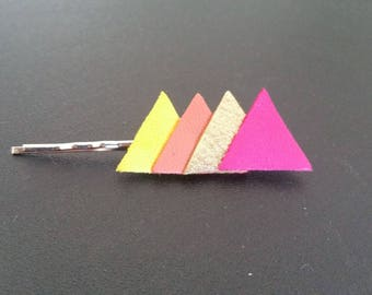 Barrette leather triangles, golden yellow, pink, rust