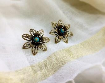 Earring Bohemian fancy bronze flower