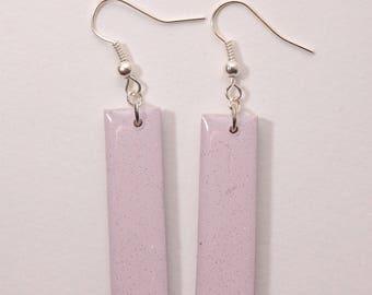 Dangle earrings, rectangle, iridescent purple