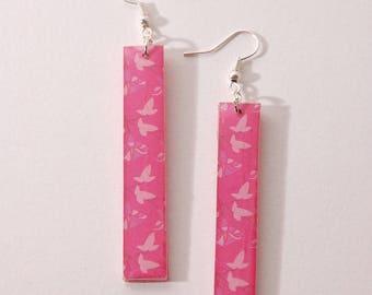 Earrings leaves, Pink White
