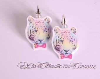 Earrings tiger head, pastel kawaii