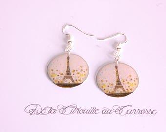 Eiffel Tower, starry sky earrings