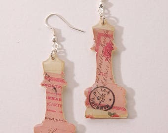 Chess, handwritten pattern old, beige and pink earrings