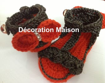 orange and grey brown baby Sandals crochet
