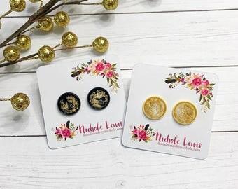 Gold Fleck Stud Earrings