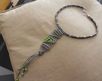 wire macrame and leather Choker
