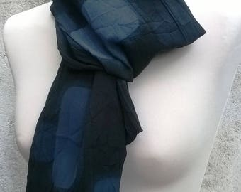 Scarf/scarf black and grey cotton