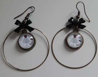 """Earrings cabochons retro vintage """"couture"""" and bow"""