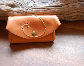 orange beige leather wallet