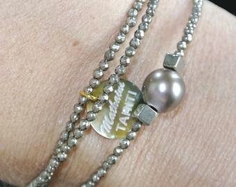 TÄHTI Pearl and Pyrite gemstone bracelet