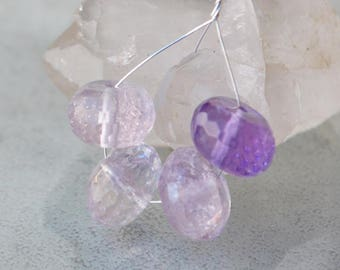 4 faceted beads of Fluorite - slice of 10-12 mm - purple violet - purple gemstone bead - Pearl material first creator
