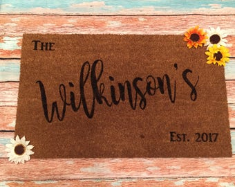 Personalized Door Mat | Custom Doormat | Family Name Door Mat| Last Name Door Mat| Coir Mat | Housewarming Gift | Measures 18x30""