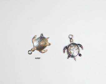 Small 2 x Black Silver TURTLE pendant