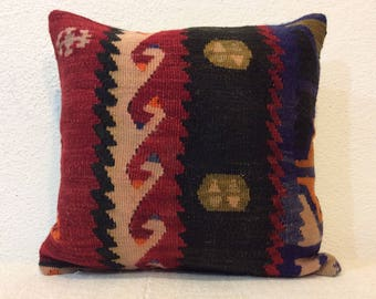 Red black blue pillow cover vintage pillow case 14x14 pillow cover