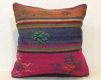 Pink pillow cover,16 x 16 Pink pillow,pink,blue,cushion,pillow,vintage style pillow,handcraft,handwoven kilim pillow