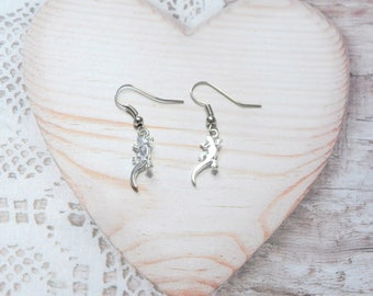 Pair earrings salamander, lizard jewelry