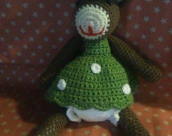 Brown rabbit crocheted blanket