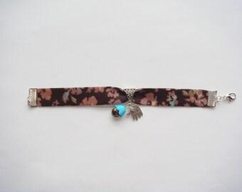 printed fabric acrylic Bead Bracelet