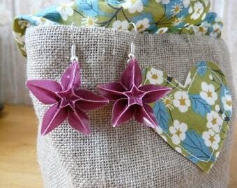 Origami star paper layer purple Columbine Flower Earrings