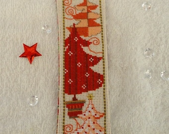 "cross-stitched ""Christmas trees"" bookmarks"