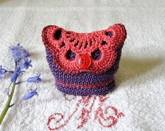 Small pouch, wallet, card holder crochet purple, red, orange and bright red