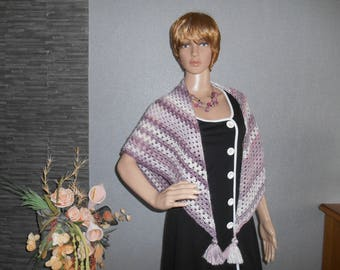 beautiful shawl, purple gradient, crocheted with beautiful tassels