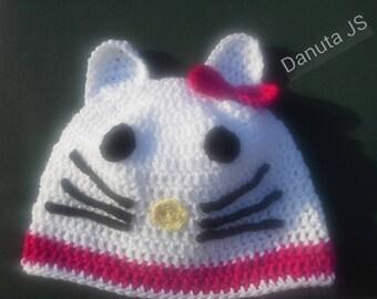 Girl Ole Kitty Hat handmade crochet with acrylic yarn