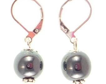 Silver plated earrings - hematite