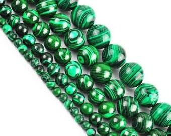 10 x 5 mm malachite round bead