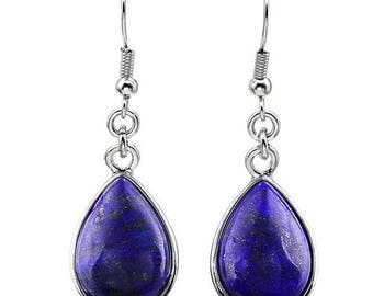 Earrings dangle drop silver plated - lapis lazuli